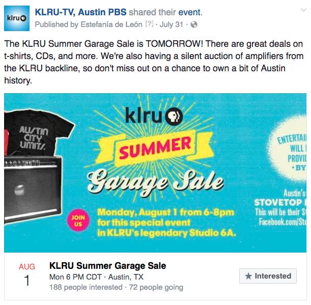 KLRU link garage sale