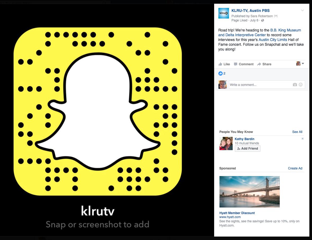 KLRU Snapchat screen