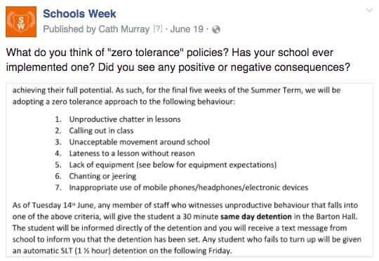 SW zero tolerance