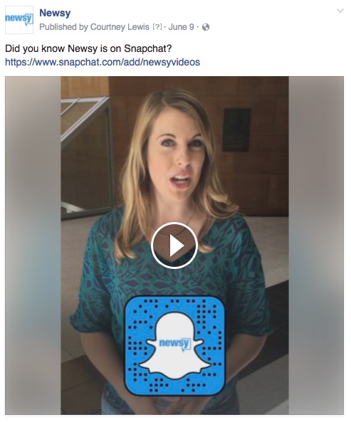 Newsy Snapchat video invite