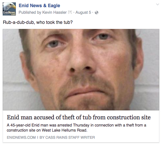 Enid tub theft
