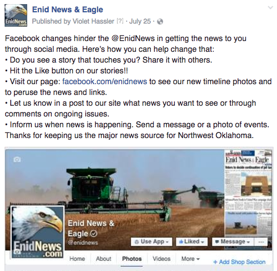 Enid facebook changes