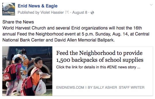 Enid feed the neighborhood