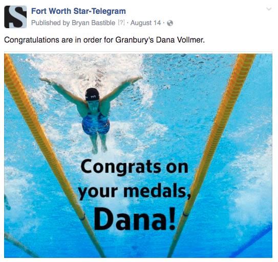 FW congrats swimmer