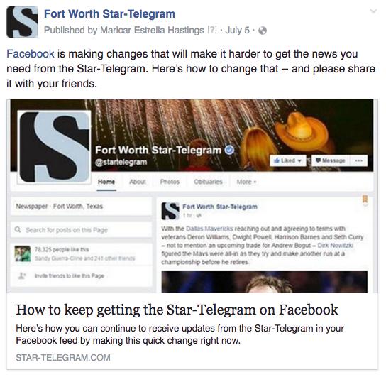 FW Facebook changes