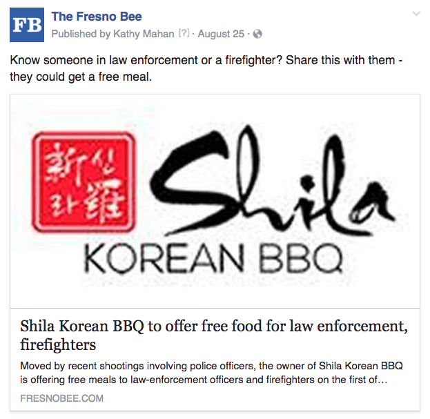 Fresno free food law enforcement