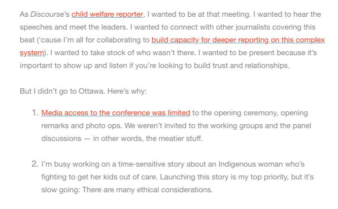 Screenshot from a Discourse Media newsletter