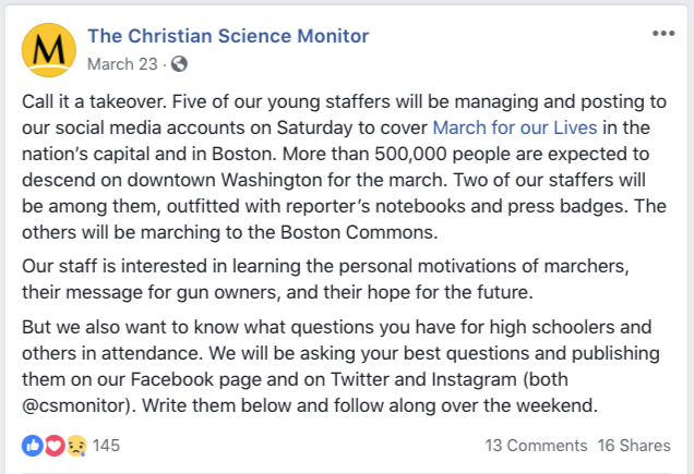 Screenshot from the Christian Science Monitor page on Facebook.