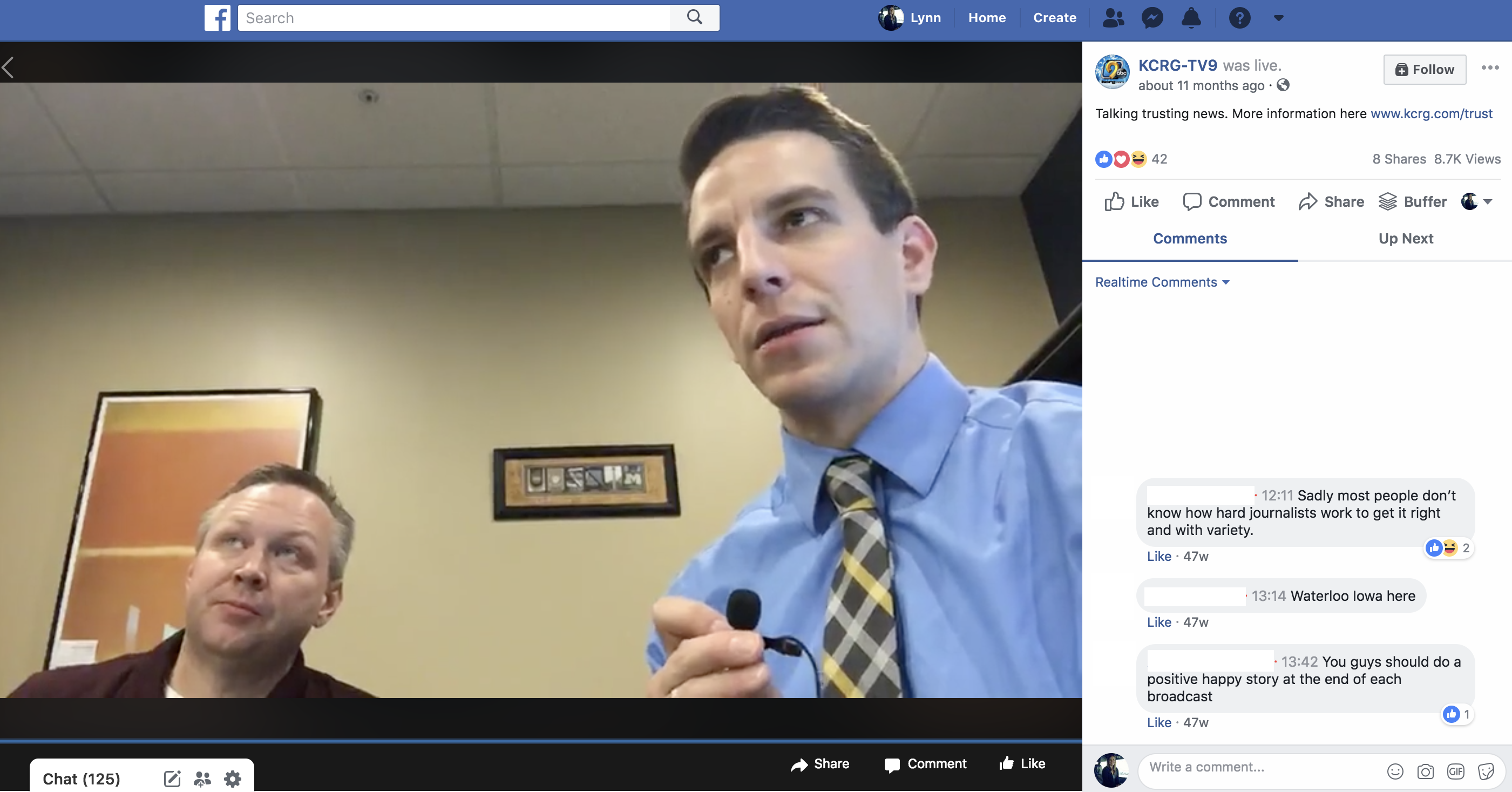 Screenshot from a Facebook LIVE Q&A with KCRG's news director.