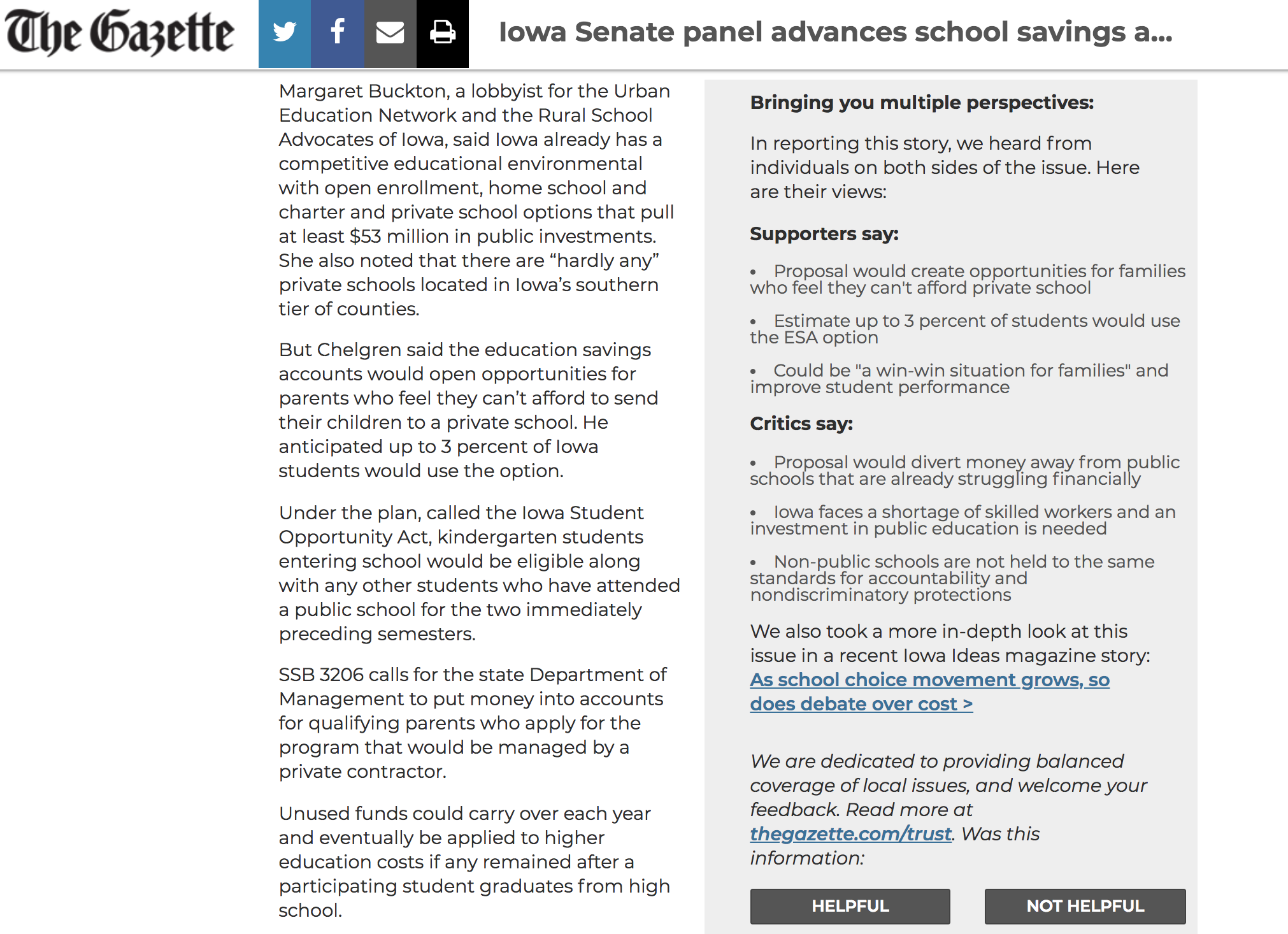 screenshot from thegazette.com, showing a pull-out box with multiple perspectives.