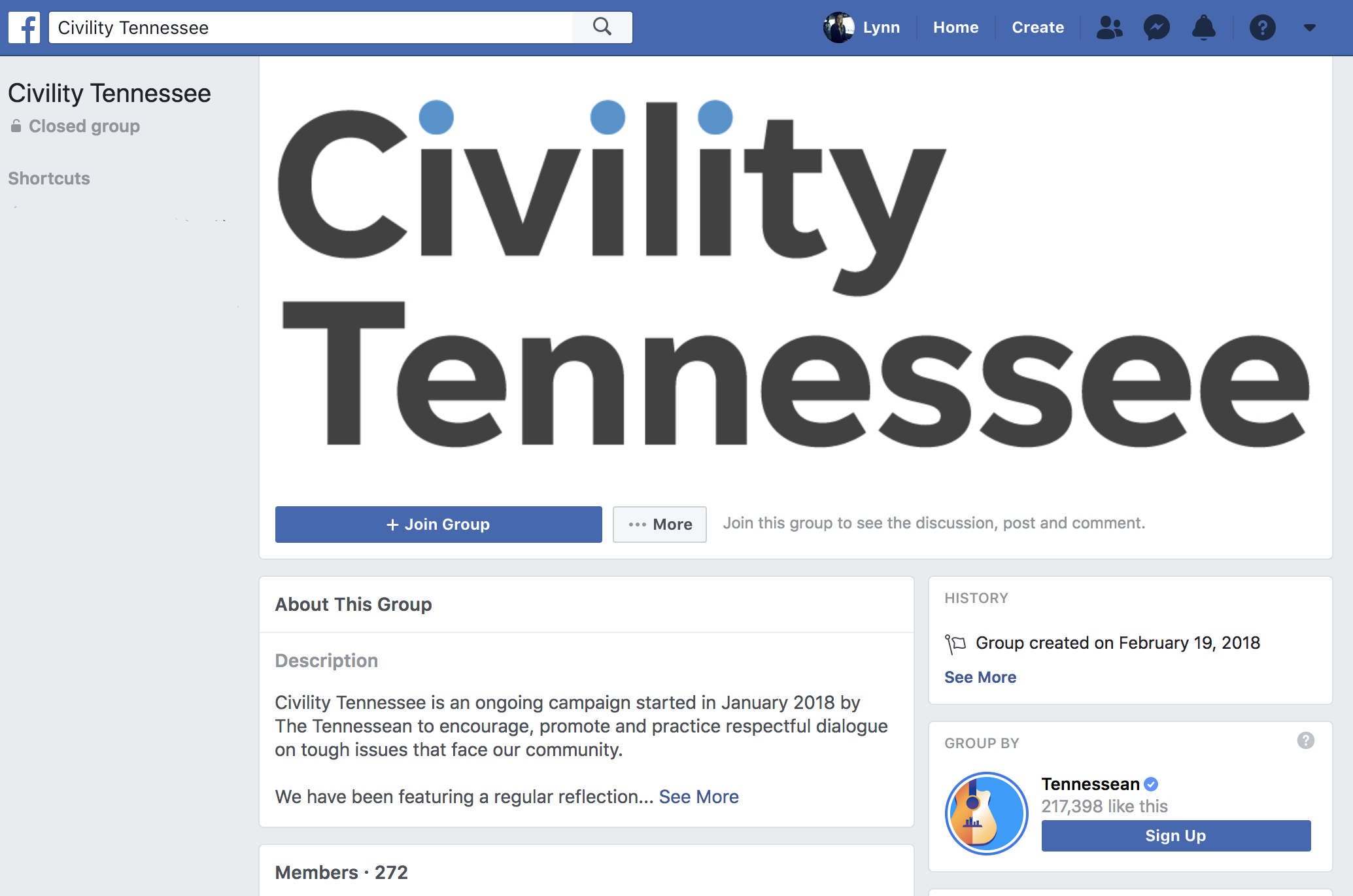 Screenshot from the Civility Tennessee group page on Facebook.