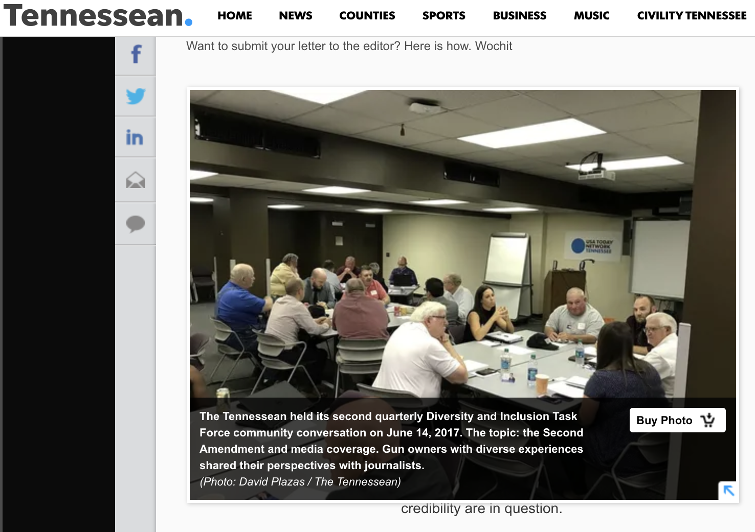 Screenshot from tennessean.com, showing an invitation for more veterans to share their perspectives with the newspaper.