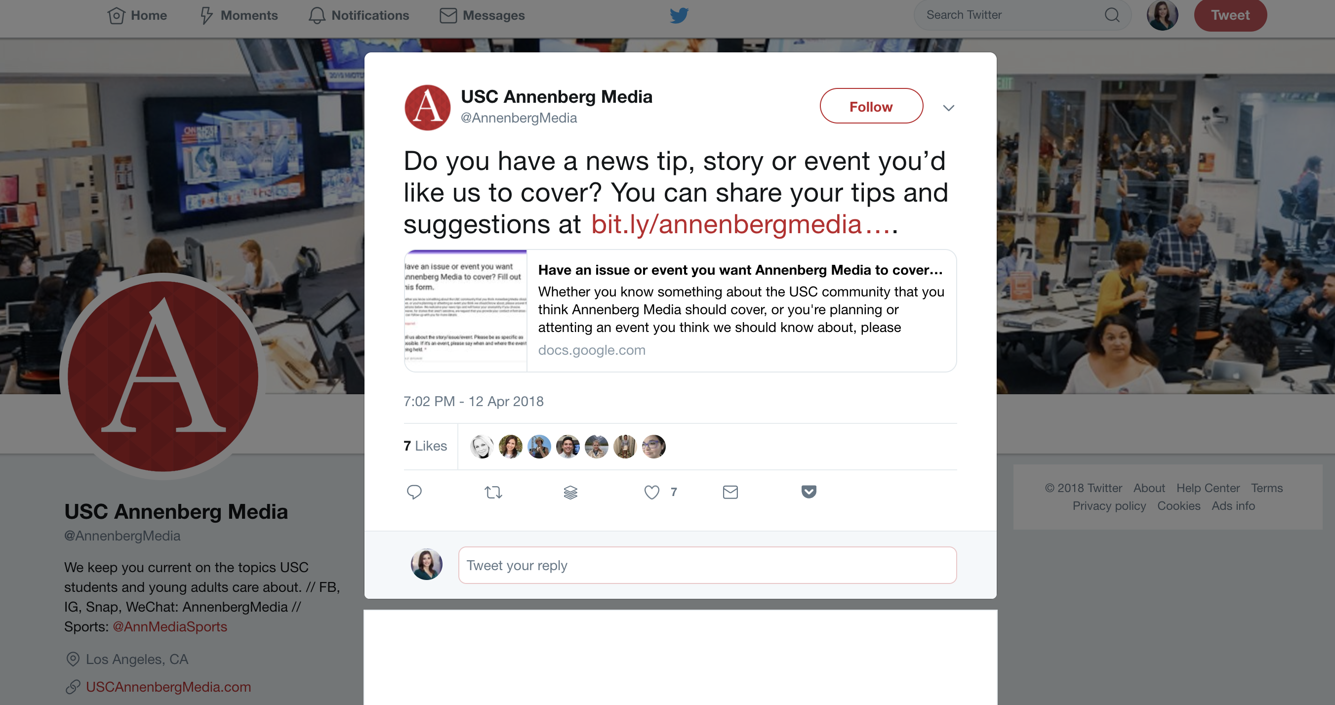 Tweet from Annenberg Media, reading: Do you have a news tip, story or event you'd like us to cover? You can share your tips and suggestions at http://bit.ly/annenbergmedianewstip ...
