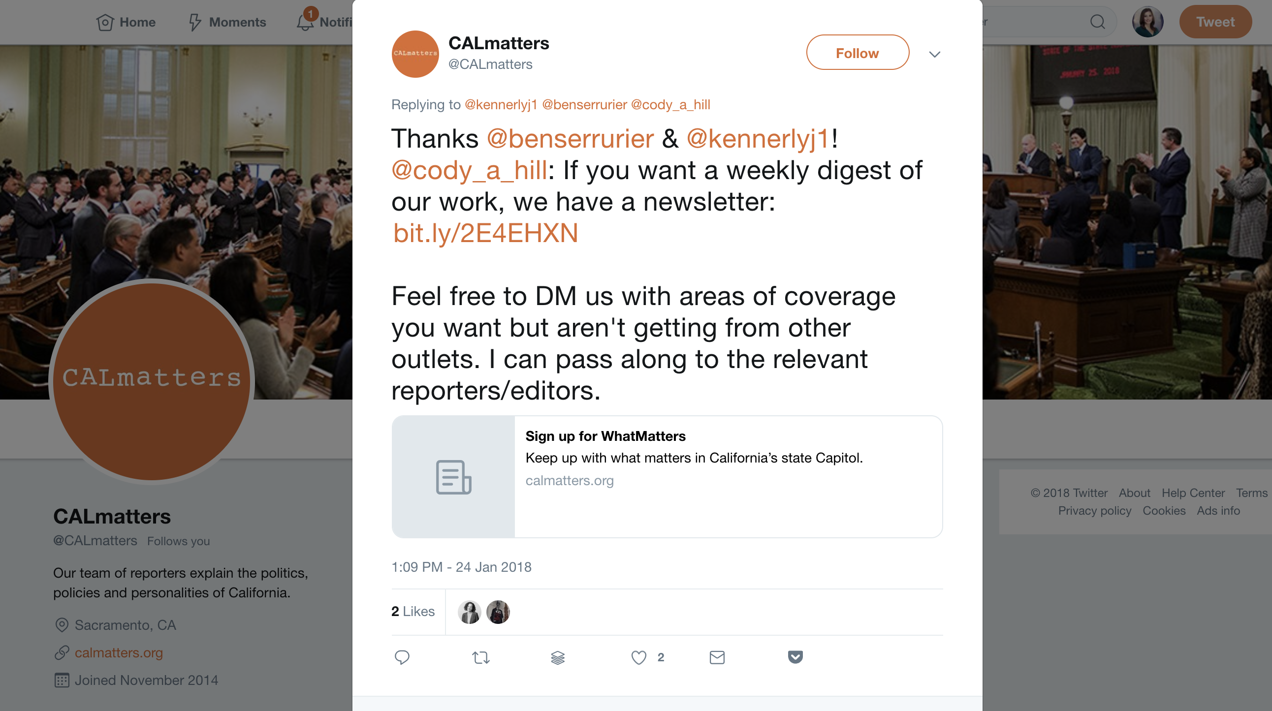 "Screenshot from the @CALmatters account on Twitter: ""Feel free to DM us with areas of coverage you want but aren't getting from other outlets. I can pass along to the relevant reporters/editors."""