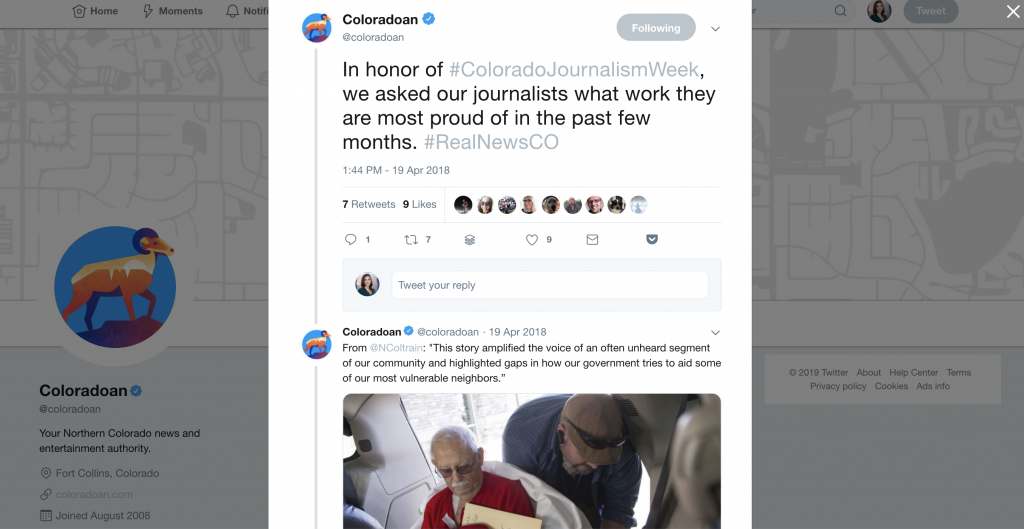 The Coloradoan used Twitter to share some of their best journalism. They timed it with Journalism Week, used the hashtag and got their reporters and editors involved.