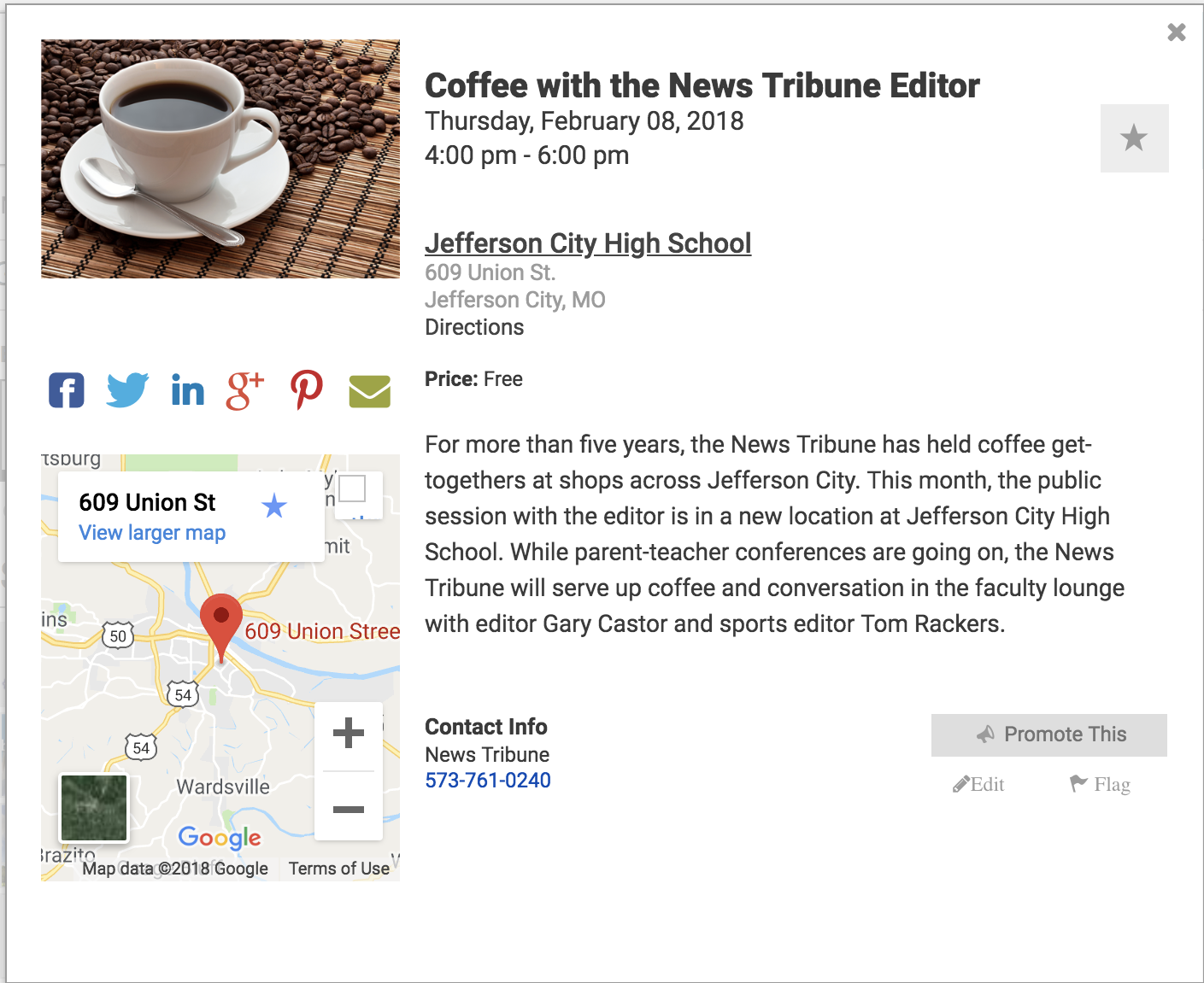 Screenshot showing invitation details for Jefferson City's Coffee with the Editor event