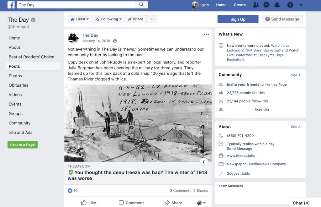 The Day used Facebook to highlight a historic winter event from the past. In the post they mentioned the journalists who worked on the story by name and included information about how long they had been covering these topics to help demonstrate the journalists' credibility and expertise.