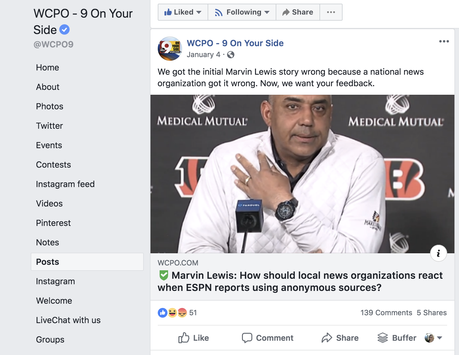 Screenshot from WCPO's Facebook page, showing an article where they asked for reader feedback.