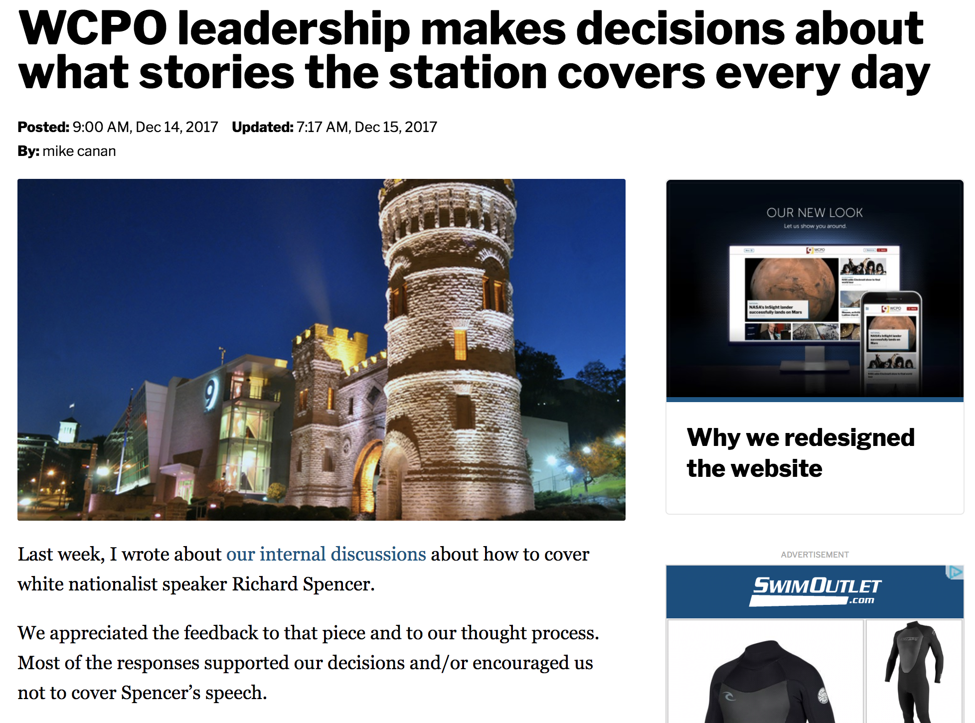 "Screenshot from WCPO's website, showing a post with the headline: ""WCPO leadership makes decisions about what stories the station covers every day"""