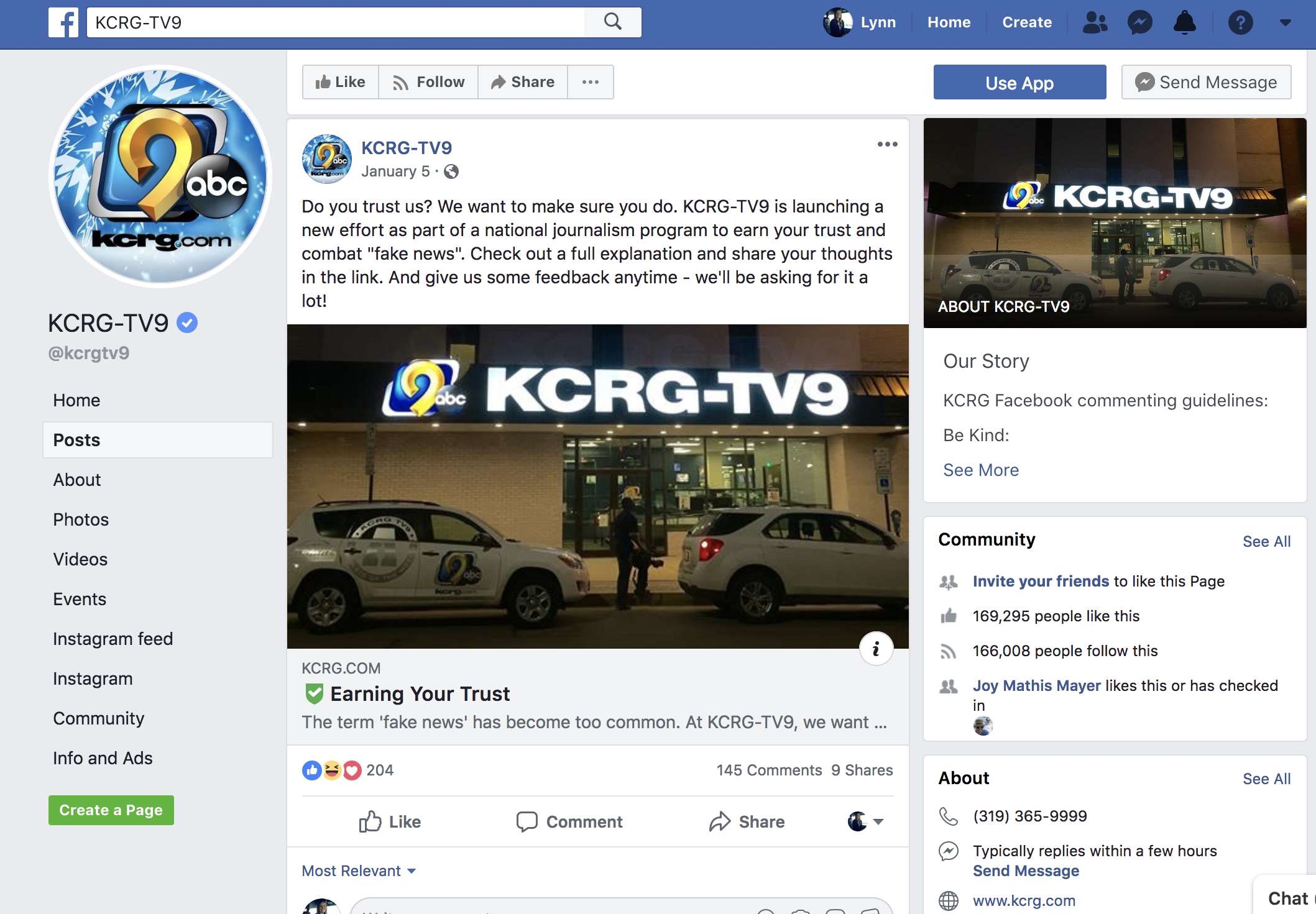 Screenshot from KCRG's Facebook page, where the station asked viewers to share whether or not they trust KCRG.