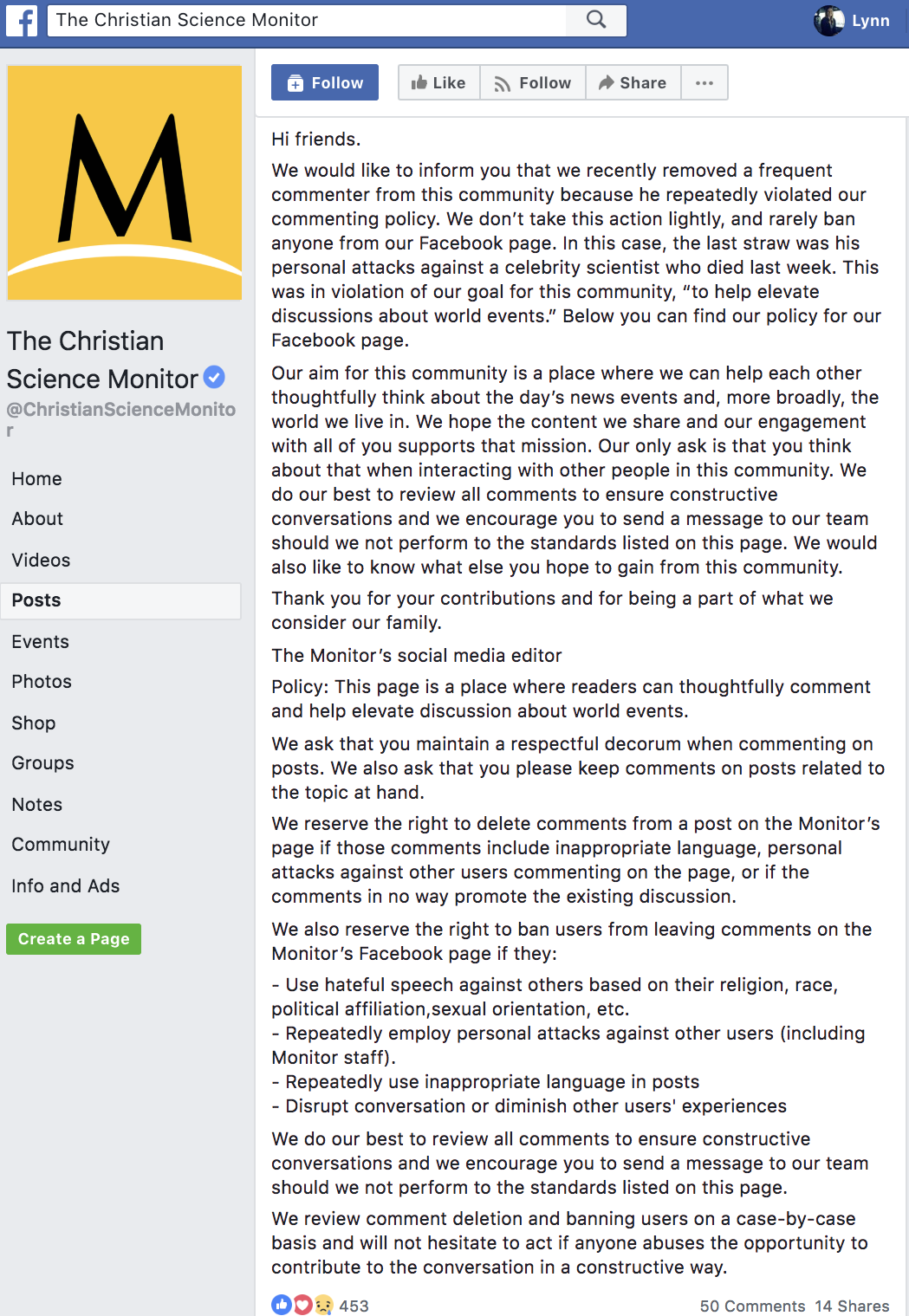 Screenshot from The Christian Science Monitor's Facebook page, explaining why a frequent commenter was banned.