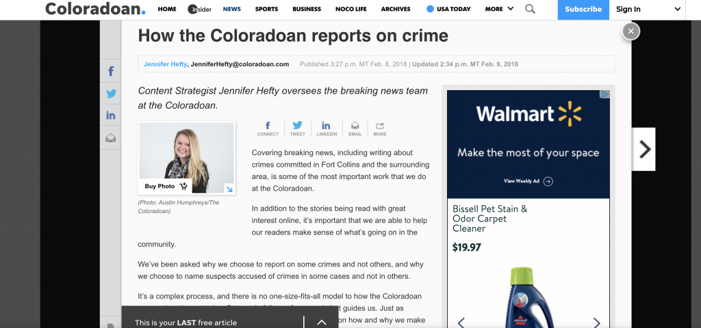 After sharing some information about how they cover crime on Facebook, the Coloradoan decided to write a web story going into more detail about what their crime coverage policy is. By creating a separate page they are able to link to this when future questions up and can easily update it if their policy changes.