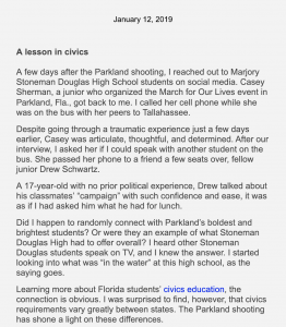 "While working on a story about the Parkland school shooting, a reporter for the Christian Science Monitor decided to share how she was able to get in touch with the students she quoted in her article. She said it felt ""totally natural"" to include this information and helped her explain her reporting process to her users."