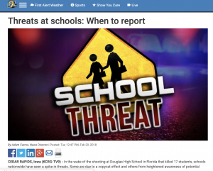 Sometimes explaining why you are not covering a story is just as helpful for your users as explaining why you are covering one. KCRG did just that when users asked them why they were not covering all school threats happening in the community. They decided to write an explainer story on their website explaining when and why they will cover school threats and also when they will not. The policy was one that was known inside the newsroom but it was the first time they were making their policy public.