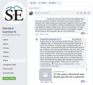 After creating a poll on Facebook about guns, the Standard-Examiner received a question about the words they were using to describe certain guns. The news organization explained why they were using certain terms and asked for feedback from users about the issue.