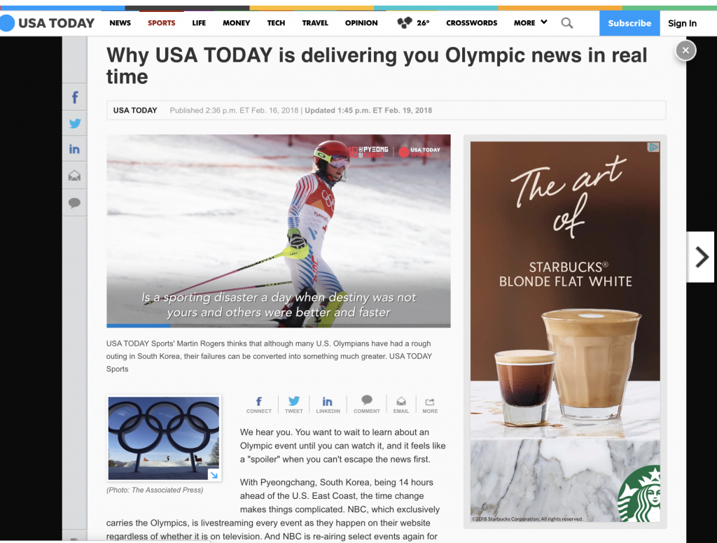 "When the Olympics took place in a time zone 14 hours ahead of most U.S. audiences, USA TODAY faced complaints about ""spoilers"" in their coverage. This post explained why they prioritize sharing information as it happens, rather than waiting for prime time. Plus, they offered a few tips to help readers customize their notifications, good knowledge to share in many situations."