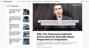 The Tennessean created a video to explain why their editorial board asked for a mayor's resignation. The newsroom said it felt the video format added a lot of value to the message and they enjoyed being able to explain how and why the decision was made instead of just writing a column. The newsroom also went live on Facebook to explain their decision.