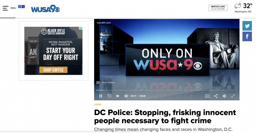"WUSA took time to highlight their coverage of stop and frisk laws in Washington, D.C. in their on-air broadcast. In highlighting their work, they also asked people to contact them if they have been stopped and frisked and then reminded their users: ""our reporting is only as strong as the community we're honored to serve."""