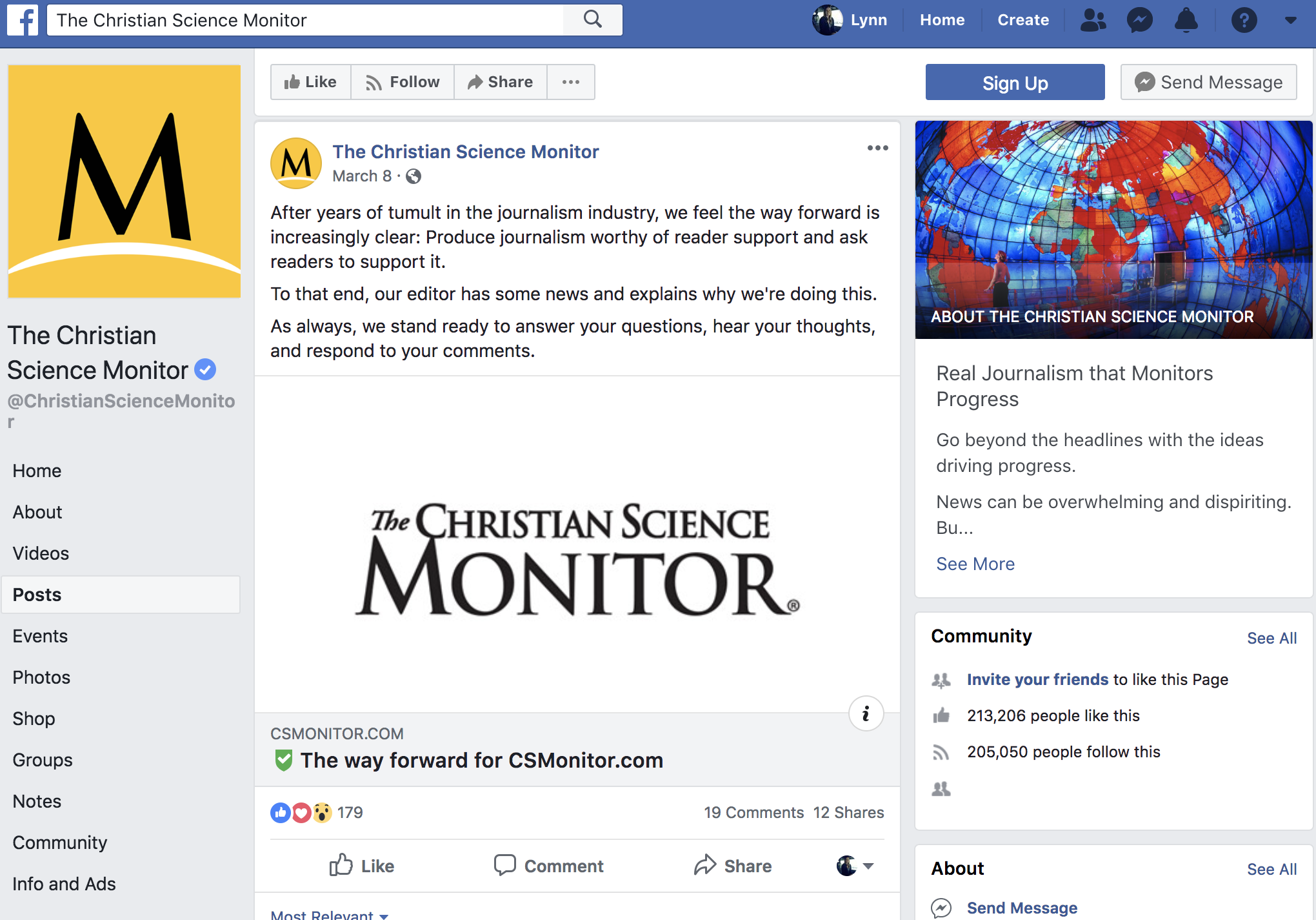 Screenshot from The Christian Science Monitor's Facebook page, explaining why the organization was implementing a paywall and inviting comments.