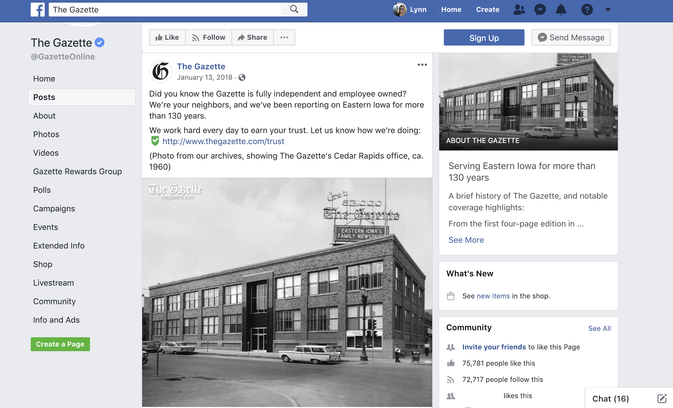 The Gazette used a historic photo of their newsroom to highlight their connection to the community. The news organization did something similar before, but saw a more positive response when using a photo from the past. The post also asked users for feedback by including a link to a Google Form.