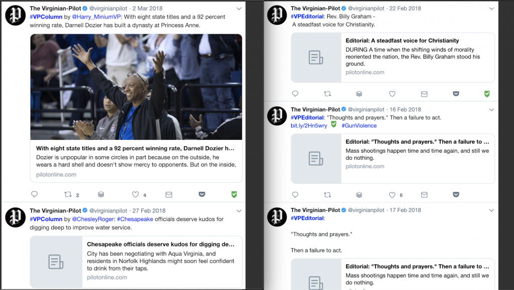 Hashtags can let your Twitter followers know what type of story you're sharing at a glance, helping them to frame their expectations before even landing on your website. The Virginian-Pilot created hashtags to better categorize content on Twitter for their users. They created #VPColumn and #VPEditorial for opinion content, and #VPBreaking for developing stories.