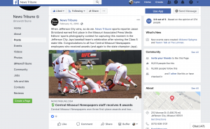 "The Jefferson City News Tribune wrote about an award their news team won and shared the post on Facebook. ""When Jefferson City wins, so do we,"" it read. The post then discussed one of the stories the news organization won an award for which was a photograph of a local baseball team's victory. The newspaper also congratulated the journalists and recognized the baseball team in the post."