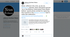 "The Jefferson City News Tribune wrote about an award their news team won and shared the post on Twitter. ""When Jefferson City wins, so do we,"" it read. The post then discussed one of the stories the news organization won an award for which was a photograph of a local baseball team's victory. The newspaper also congratulated the journalists and recognized the baseball team in the post."