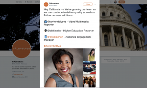 CALmatters took to Twitter to introduce three new staffers and their coverage areas. Framing the news in terms of reader impact (an investment in quality and expanded coverage) kept it from sounding like a stodgy press release, and the news organization said readers responded with excitement.