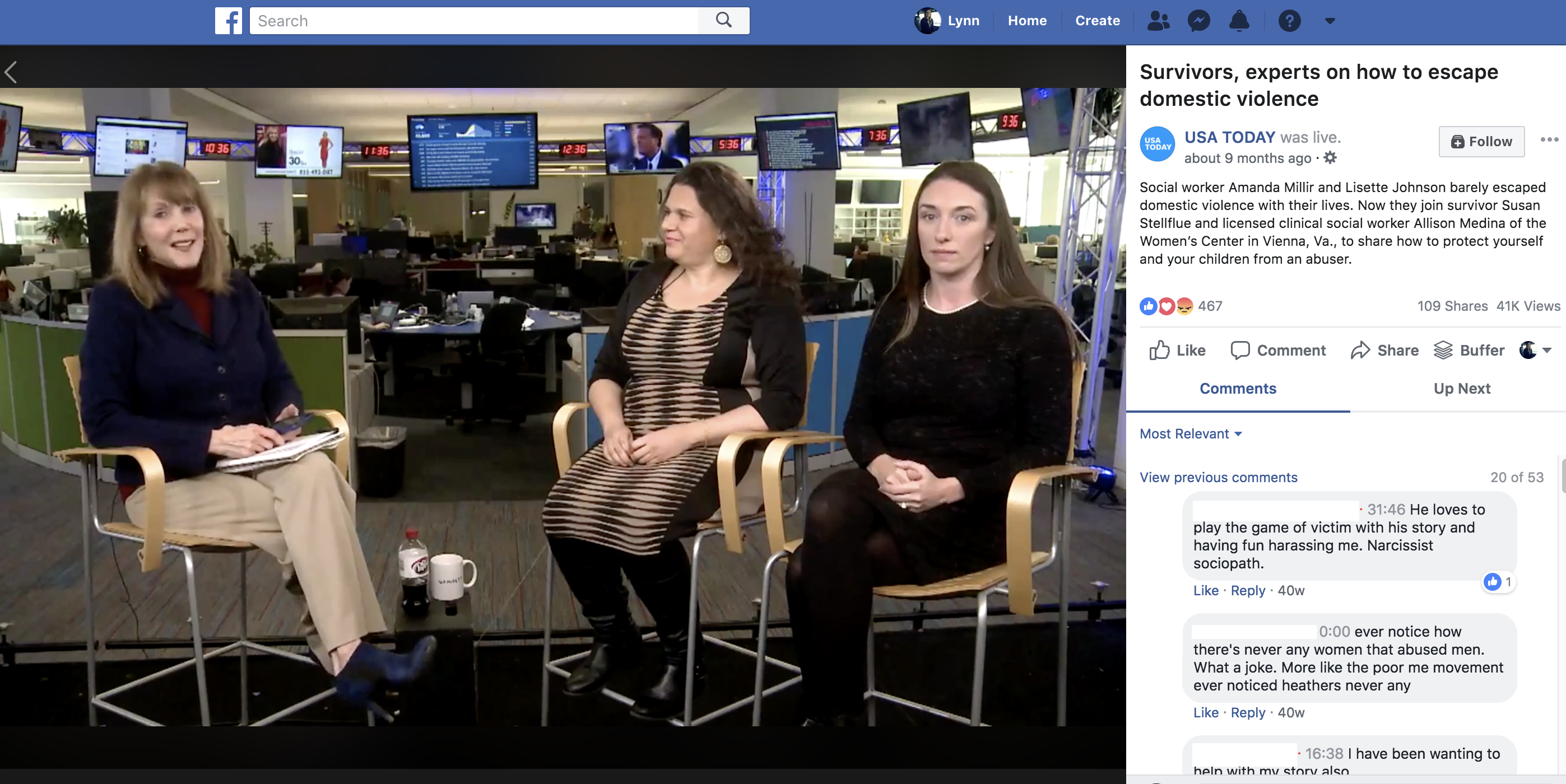 Screenshot from a Facebook LIVE video on USA TODAY's page, showing a discussion between readers and experts.