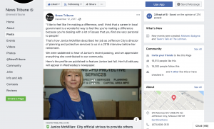The Jefferson City News Tribune remembered a city employee who died by posting about her death on their Facebook page. The news organization found it was an easy way to highlight previous coverage featuring this individual and show their local ties to the community.