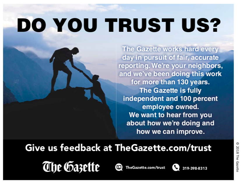 House ad that ran in The Cedar Rapids Gazette, asking readers to let the paper know: Do you trust us?