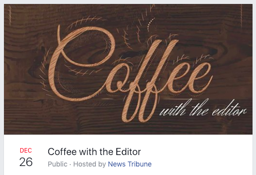 "Screenshot showing the Facebook invitation for the Jefferson City News Tribune's monthly ""Coffee with the editor"" events."