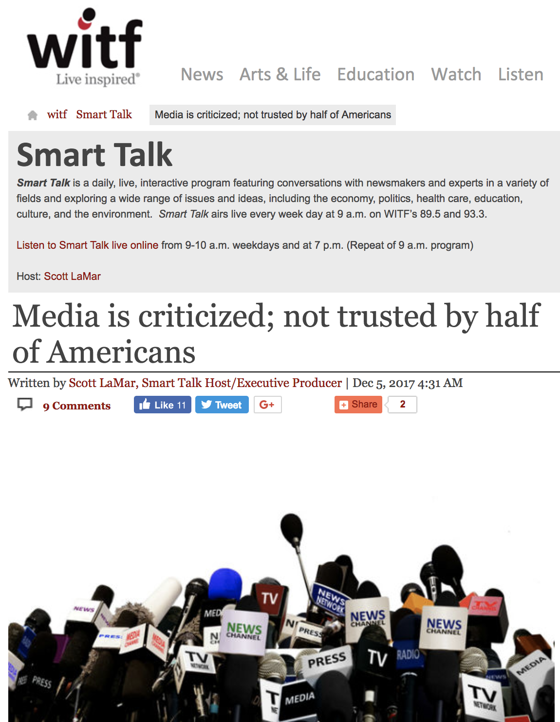 "Screenshot from WITF's website, showing a post with the headline: ""Media is criticized; not trusted by half of Americans"""