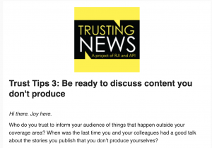 Trust Tips 3: Be ready to discuss content you don't produce